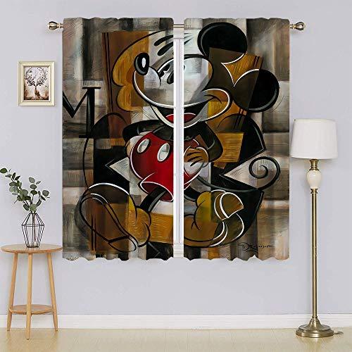 Mickey-Mouse - Cortinas opacas para ventana, aislamiento térmico y ruido eficiente de energía para cortinas de ventana de guardería de 132 x 163 cm