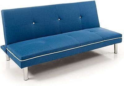 CHANCE FURNITURE Cambia Tus Muebles - Sofá Cama Sol, 1.90 cm 3 plazas, Clic clac Libro Azul