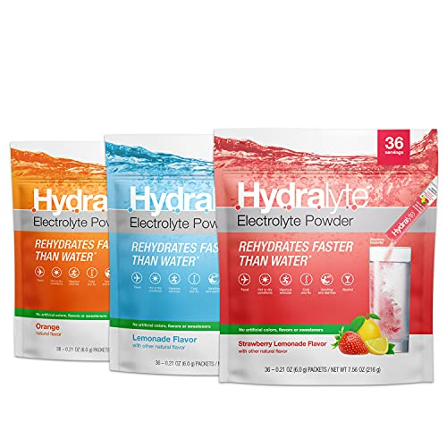 Hydralyte All-Natural Hydration Electrolyte Powder Sticks, Instant Dissolve ORS Drink Mix, Strawberry Lemonade, Orange & Lemonade, (3) 36 Count Pouches
