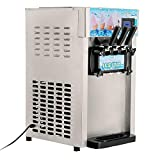 VEVOR Ice Cream Machine Commercial 5.3 to 7.4Gal per Hour Soft Serve with LED Display Auto Clean 3 Flavors Perfect for Restaurants Snack Bar, 1200W
