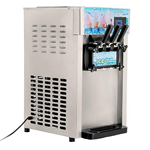 VEVOR Commercial Ice Cream Machine 5.3 to 7.4Gal per Hour Soft Serve with LED Display Auto Clean 3...