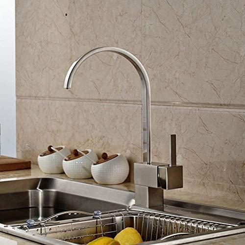 Grifo de fregadero de cocina de níquel cepillado Montura de cubierta de grifo de cocina de agua fría y caliente de una sola palanca