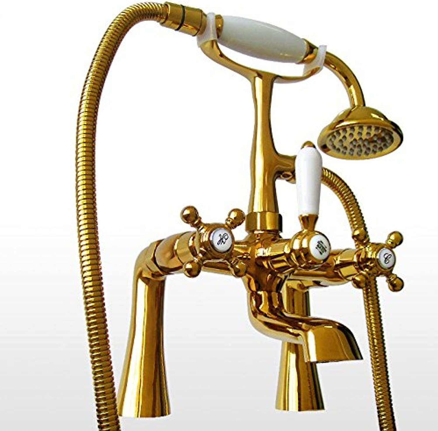 Hlluya Professional Sink Mixer Tap Kitchen Faucet Bath shower, hot and cold bath Mixer Taps sit-in cylinder is full of antique copper telephone shower shower, gold