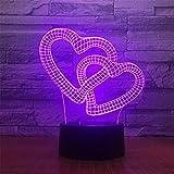 3d amor corazón óptico Illusions lámpara 7colores Interruptor táctil Illusion Luz nocturna para dormitorio Home Decoration boda Navidad Valentine regalo de cumpleaños