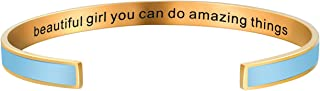 CAROMAY Personalized Mantra Cuff Bangle Inspirational Hidden Message Bracelet Women Personalized Christmas Birthday Gift