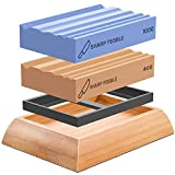 Sharp Pebble Whetstones Wood Carvers Sharpener-Dual Grit Sharpening Stones Grit 400 & 1000- Waterstone Sharpener for Woodworking, Wood Carving Tools, Chisels & Gouges with Non Slip Bamboo Base