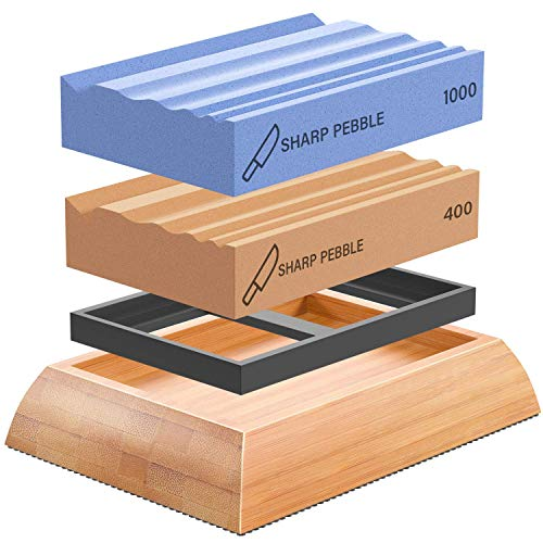 Sharp Pebble Sharpening Stones for Wood Carving Tools-Two Whetstones Grit 400 & 1000 Gouge Sharpener- Waterstone Sharpening System for Wood Carving Knives & Chisels with Non-Slip Bamboo Base