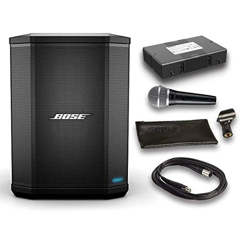 Bose S1 Pro Bluetooth Speaker System Bundle with Battery, Shure PGA48 Microphone, 15ft XLR Audio Cable (6 items)