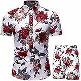 Camisa corta floral para hombre, informal, para verano, playa, manga corta, con botones, camisas y pantalones cortos, 2 piezas, trajes de fantasía, Tzf, 3XL