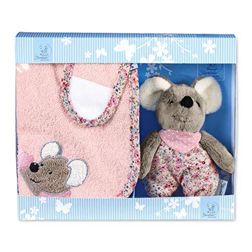 Sterntaler Geschenk-Set Mabel, Klettlätzchen und Mini-Spielfigur, Alter: ab 0 Monaten, Hellrosa/Mehrfarbig