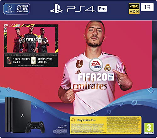 PS4 Pro 1 To G Noir + FIFA 20 + PS Plus 14 jour (Digital) [Importación francesa]