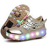 WXYLYF Enfants LED Patins Chaussures USB Rechargeable Allumer Chaussures À Rouleaux Cadeau pour Filles Garçons Enfants Chaussures À Rouleaux pour Garçons USB Rechargeable LED Allumer,33