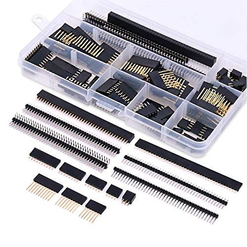 Vaorwne 112 StüCk 2,54 Mm Stift- und Buchsenleiste Steckverbindersortiment-Kit 100 StüCk Stapelbare Stiftleiste und 12 StüCk Abtrennbare Leiterplatten-Stiftleiste für