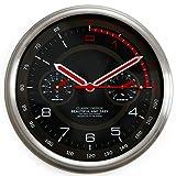 Vinteen Reloj de pared moderno simple termómetro de banda higrómetro personalidad reloj de pared sala de estar circular silencioso dormitorio oficina reloj de cuarzo reloj de pared ( Color : Red )