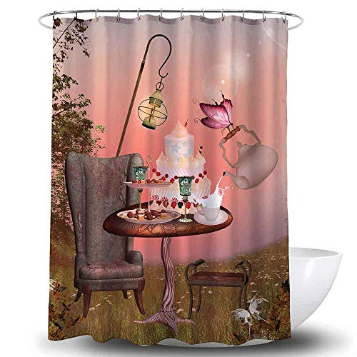 Kuchen Duschvorhang mit Haken, Fantasy Geburtstagsfeier, Polyester wasserdicht Mehltau Proof Waschbarer Badvorhang Kreatives Dekor Set mit 12 Haken-180x180cm