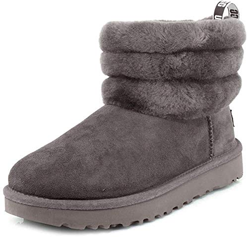 UGG Female Fluff Mini Quilted Classic Boot, Charcoal, 5 (UK)