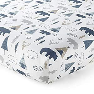 Levtex Baby – Emerson Crib Fitted Sheet – Fits Standard Crib and Toddler Mattress – Animal Toss – Grey, Blue and Tan – Nursery Accessories – 100% Cotton