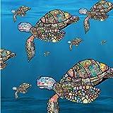 Envoltura de pan de cera vegana hecha a mano, diseño de tortugas marinas, 50 cm x 50 cm