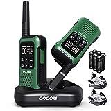 GOCOM G9 Waterproof Walkie Talkies for Adult 22 FRS Channels, Handheld Two Way Radio LED Flashlight VOX Scan, Rechargeable Walkie Talkie Long Range for Neighborhood Outdoor Camping Biking Hiking 2Pack