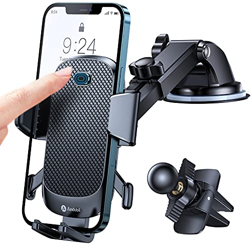 Andobil Phone Holder for Car, 2021 Upgraded [Powerful Suction & Adjustable] Long Arm Powerful Stickiness and Sturdy Suction Cup & Air Vent Universal Car Holder Cell Phone Mount Fit with All Phones