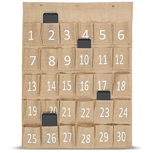 Juvale Numbered Classroom Pocket Organizer Chart for Cell Phones (23.6 x 30 Inches)