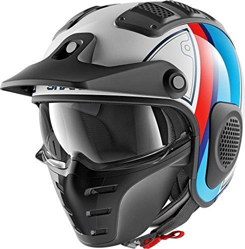 SHARK Herren NC Motorrad Helm, Weiss/Blau/Rot, XL