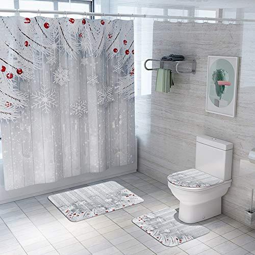 Hancoc Cortinas de ducha de poliéster, asiento de inodoro de cuatro piezas, patrón de copo de nieve de Navidad, succión no se descolora, multifunción, lavable a máquina y cómoda alfombrilla de baño