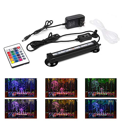 Smiful LED Aquarium Light with Air Pump Bubble, Submersible Underwater 16 Color and 4 Mode Crystal Glass Fish Tank Light Controled by Remote or Power Button (7