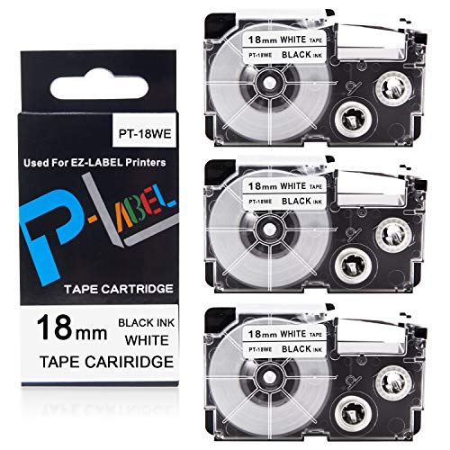 """Pristar Compatible Label Tape Replacement for XR-18WE XR18WE for Casio Label Maker Tape 18mm 3/4"""" for Casio EZ Label Maker KL-750 KL-780 KL-7000 KL-7200 KL-120 KL-130 KL-820, Black on White, 3-Pack"""