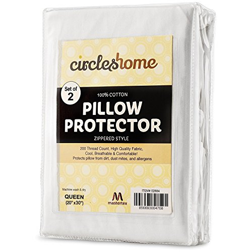 Mastertex Zippered Pillow Protectors 100% Cotton, Breathable & Quiet (2 Pack) White Pillow Covers Protects from Dirt, Dust Mites & Allergens (Queen - Set of 2 - 20x30)
