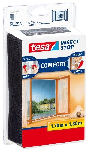 tesa Insect Stop Malla Mosquitera COMFORT para Ventanas - Mosquitera Autoadhesiva con Cierre de Gancho y Bucle - Tela Antimosquitos - Gris Antracita, 170 cm x 180 cm