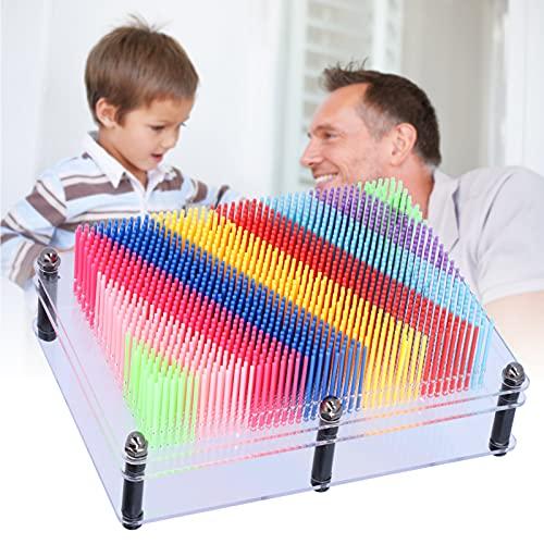 Vcriczk Juguete artístico con alfileres 3D, Tablero de plástico con alfileres, Tablero de Escultura artística, Juguete de 5,8 x 7,8 x 1,6 Pulgadas, plástico para la Escuela, la Oficina para el hogar