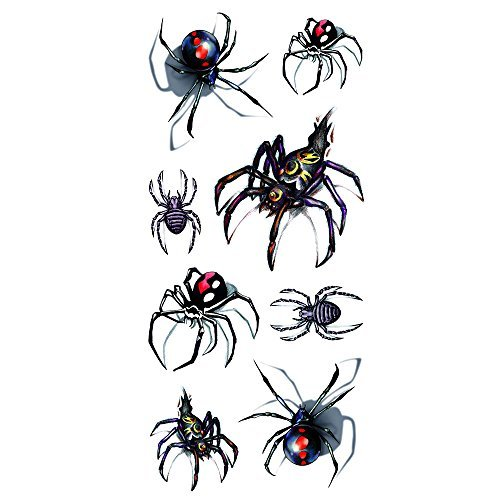 Oottati Halloween Shadow - 3D Assorted Black Widow Spider Temporary Tattoo (2 Sheets)