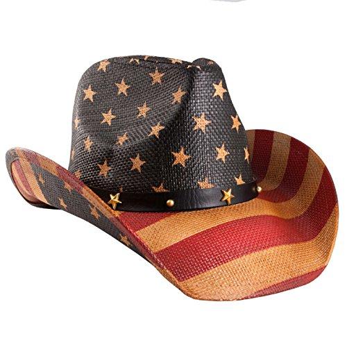 grinderPUNCH Classic American Flag Cowboy Hat Antique Flag
