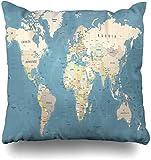 Mesllings - Funda de cojín con diseño de mapamundi, Color Beige y Azul