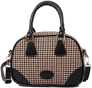 Dengyujiaansdjb Handbags For Women, Youth Ladies Simple Versatile Crossbody Bag Retro Leather Top-handle Bag Girls Plaid P...
