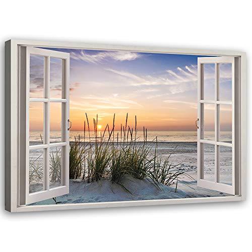 Feeby Leinwandbild XXL Fenster-Illusion Wandbild Deko Kunst Meer Strand Beige 120x80 cm