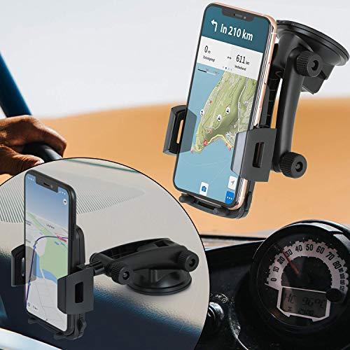 Wicked Chili KFZ Handy Halterung kompatibel mit iPhone 12 Pro Max, 12 Mini, 12 Pro, 12, SE 2020, 11 Pro Max, XS Max, XR und Smartphone mit max. 91mm Breite 360° Windschutzscheibe und Dashboard Mount
