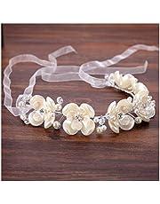 Guirnalda de Flores Novia Tocado de plástico Blanco Flor Novia Banda para el Cabello Garland Vestido de Accesorios &Guirnalda de Flores