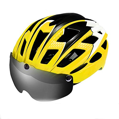 Aiong Casco da Bici, Casco da Ciclismo CPSC Casco da Bicicletta di Sicurezza Standard/Casco da Arrampicata/Casco BMX con Visiera Magnetica per Adulti Uomini e Donne Montagna e Strada