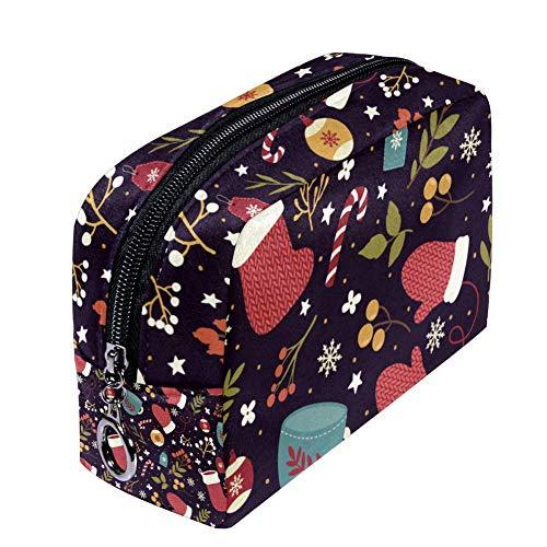 Shiiny Sac à maquillage chaud pour femme Motif de Noël Sac à maquillage Sac de voyage Sac de toilette Imperméable Multifonction Portable