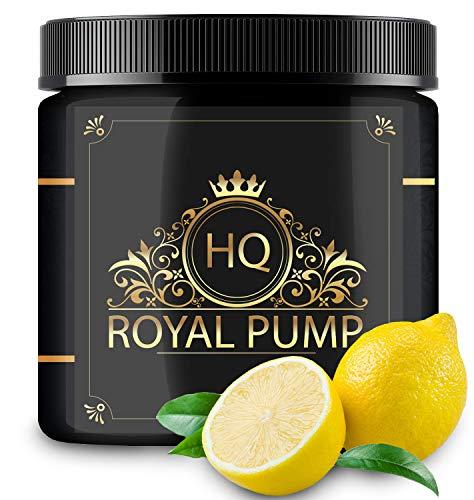 RoyalPump - UPPERCLASS PRE WORKOUT BOOSTER - Mächtiger Pump & Focus - Goldenes Elixier - Lemongeschmack - Hardcore Pre Workout Booster mit edlem L-Arginin & L-Citrullin - 300g