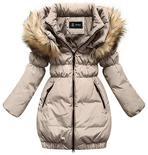 SMITHROAD Kinder Mädchen Winterjacke mit Kunstpelz Tailliert Lang Jacket Wintermantel Parka Oberbekleidung,Beige,EU 104-110,Herstellergröße 110