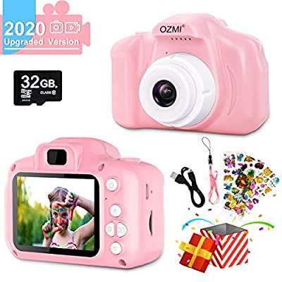 OZMI Upgrade Kids Selfie Camera, Kids Toys for Girls Age 3-12, Children Digital Cameras 1080P 2 Inch Toddler Video Best Birthday Gift for 3 4 5 6 7 8 9 10 Year Old Girls with 32GB SD Card (Pink)