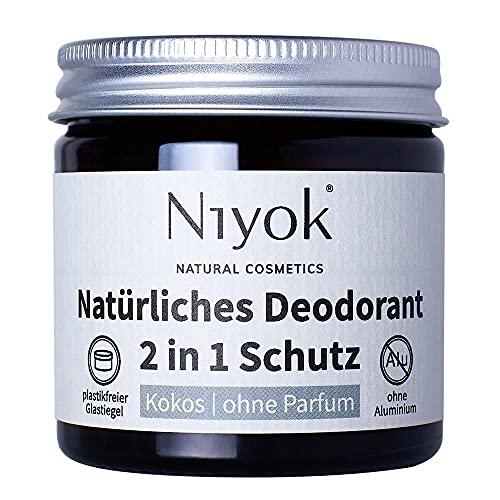 Niyok® 2 in 1 Deo ohne Aluminium Antitranspirant Deocreme Deodorant Creme   Damen   Herren gegen starkes Schwitzen aluminiumfrei - Kokos ohne Parfum – 40ml