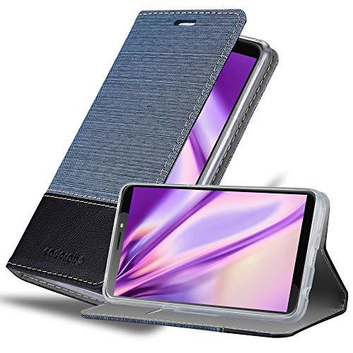 Cadorabo Hülle für HTC Desire 12 Plus in DUNKEL BLAU SCHWARZ - Handyhülle mit Magnetverschluss, Standfunktion & Kartenfach - Hülle Cover Schutzhülle Etui Tasche Book Klapp Style