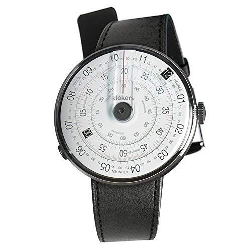 Klokers Klok 01 - Reloj unisex con esfera blanca y gris y correa de piel negra KLOK1.MC1