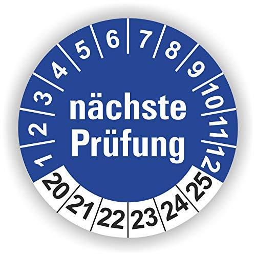 5-1.000 Stück Prüfplaketten Prüfetiketten Wartungsetiketten nächste Prüfung Ø 20mm (Blau 10 Stück)