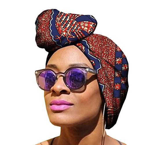 Yijinstyle Damen Turban Handtuch, Kopftuch Afrikanischen Muster Drucken Turban Wrap Kopfbedeckung Boho (Style#2, 50 * 150cm)