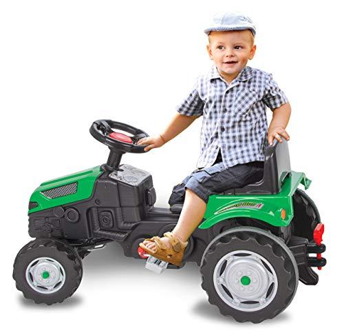 Jamara- Tractor a Pedales Strong Bull – Sistema de Volante, Asiento Ajustable, claxon, Enganche de Remolque, Peso máximo 60 kg, Color Verde (460795)
